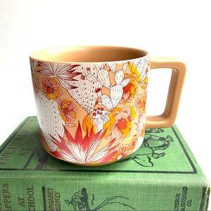 Starbucks Orange Coral Floral Cactus Cup Tea Mug